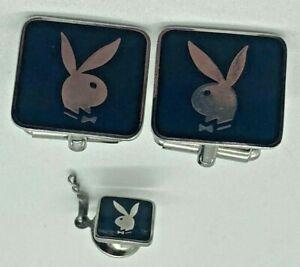 Vintage Playboy Bunny Cufflinks and Tie Tac Black Enamel Silver Tone SET