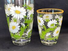 LN 2 Vintage Libbey Daisy Flowers Drinkware Tumbler Juice Glass Gold Yellow Rim