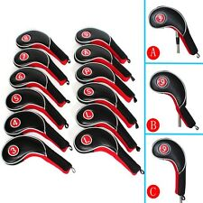 CRAFTSMAN GOLF 12pcs Golf Iron Putter Head Covers Headcover Set Black & Red