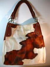 New! Cow Print Hobo Tote Handbag Brown and Burnt Orange Faux Fur
