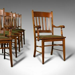 Set, 6, Antique Dining Chairs, English, Oak, Carver, Seat, Arts And Crafts Taste