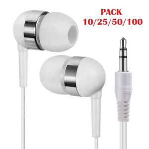10/25/50/100 Wholesale Bulk Disposable Individually Bagged Earbuds Headphones