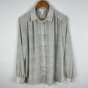 H&M Womens Blouse Top 14 White Polka Dot Long Sleeve Collared Button Front