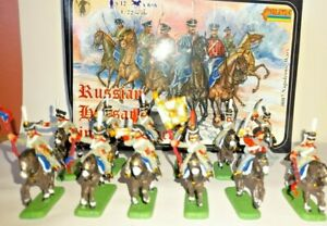 PAINTED SOLDIERS 1/72 20mm - RUSSIAN HUSSARS - NAPOLEONIC WARS x 12 STRELETS