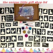 GLITTER TATTOO KIT PRINCESS 40 stencils glitters glue UK made prof quality