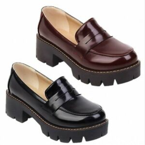Women's Loafers Shoes Patent Leather Oxfords Pumps Slip On Chunky Heel Shoes New