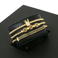 Luxury CZ Imperial King Crown Bracelet 3pcs , Mens Charm Fashion Beads Bracelets