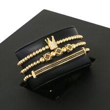 Luxury CZ Imperial King Crown Bracelet 3pcs , Mens Charm Fashion Beads Bracelets