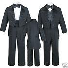 New 5pc Baby Kid Teen Boy Wedding Formal Tuxedo Vest Cummerbund Suit Black S-20