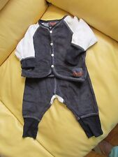 INFANT BOYS -COCCOLI - Gray/Navy & White - 2 Piece Outfit - 6 Months - Pre-owned