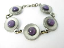 Designer Armband Zinn lila Glas Denmark Modernist Vintage tin bracelet