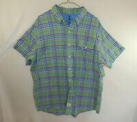 IZOD Short Sleeve Mens Button Down Oxford Dress Shirt Plaid Size EXTRA LARGE XL