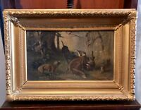 Karl (Carl) Reichert Victorian Oil Painting Fox Hunt with Dogs Original Frame