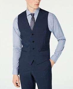 $158 HUGO BOSS Men's Slim-Fit Dark Blue Micro-Check Wool Suit Vest, 40S