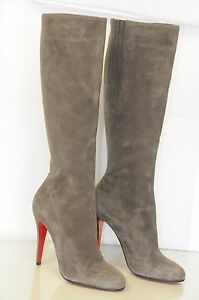 New Christian Louboutin BABEL Taupe Grey Brown Suede Boots heels shoes 40.5 38.5