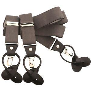 Hosenträger zum Knöpfen mit Lederpatten : Grösse - 110