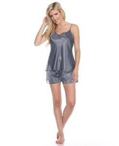 Womens Silky Satin Pajama Set Camisole and Shorts
