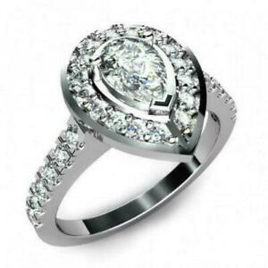 2.5ct Pear Cut VVS1 Diamond Tear Drop Cool Engagement Ring 14k White Gold Over