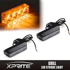 2x Amber 4 LED Emergency Side Marker Vehicle Flash Strobe Lights Deck Dash Grill