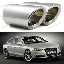 2 x Exhaust Tips Tailpipe trims Silver  for Audi A5 2008-2014