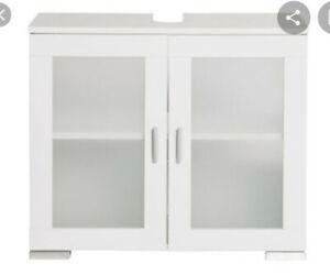 NEW Modern White High Gloss Storage Under Sink Cabinet Bathroom Vanity Unit