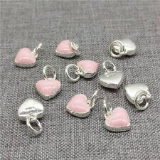 5pcs of 925 Sterling Silver Enamel Pink Love Heart Charms for Bracelet Necklace