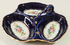 Couleuvre France Veritble Cobalt 3 Section Handled Divided Candy Nut Dish Euc