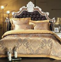 100% Comfy Gold Queen/King Satin jacquard bed set duvet cover pillowcases sheet