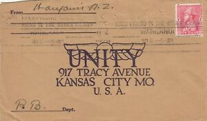 Stamp 1928 Admiral 1d red New Zealand on cover sent to Unity Kansas City USA