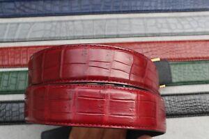 "W 1.5"" No Jointed Genuine Alligator CROCODILE Skin Leather MEN'S  Belt"