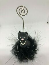New listing Cute Pussy Cat Lovely Business Black card/photo holder Nib with Trim Vet Gift