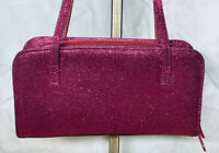 Jimmy Choo Pink Magenta Glitter Top Handle Zip Around Evening Bag Purse Italy