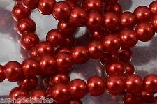 100 perles nacrées Renaissance 4 mm rouge
