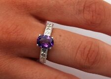 Amethyst 1.50 ct - 9x7mm - Oval Ring Size 7 - Sterling Silver