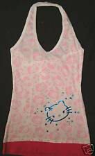 Hello Kitty Glitter T-shirt Tee  Tank Top Halter Girls Blouse T shirt  Tie NeW M