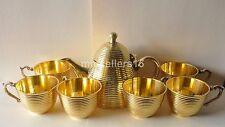 Rare New All Brass Tea Kettle Set Coffee Teapot 500 ml & 6 Cups 150 ml Kitchen