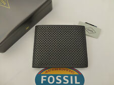 FOSSIL RFID Protected Wallet PRESCOTT Tri-fold Grey Leather Wallets in Tin RP£45