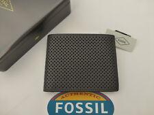 Fossil protegido RFID Cartera de Cuero Gris Prescott Tri-Fold carteras en estaño RP £ 45