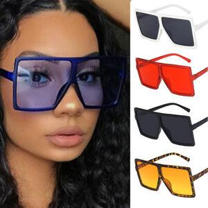 Oversized Black Square Flat Top Large Fashion Sunglasses Women Shades Big UV400