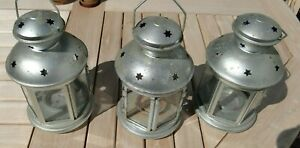 Retro - Three Lovely IKEA Metal Tea Candle Lanterns from 1999 - 210mm high