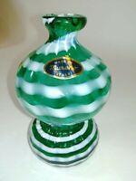Vintage Murano Italy Art Glass Vase Emerald Green & White stripes