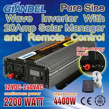 Pure Sine Wave Inverter2200W/4400W12V-240V+Solar Manager 20Amp And Charging LED
