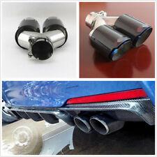1x Universal Carbon Fiber+Chrome Blue Car Modification Dual Exhaust Pipe 63-89mm