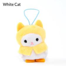 Amuse Puchimaru Mini Plush White Cat w/ Rain Coat Kawaii From Japan