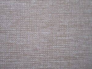 BARGAIN ROLL END 7 METRES LINEN WEAVE UPHOLSTERY FABRIC DUSKY PINK & BEIGE