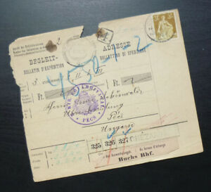 Switzerland 1910 Package Card from Chezard to Pecs Hungary - Austria K und K A2