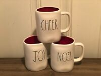 Rae Dunn Christmas By Magenta CHEER NOEL JOY Green Large Letter Red Interior Mug