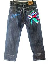 Coogi Mens Gray Jeans Straight Leg Relaxed Slub Embroider Feathers Size 36x33