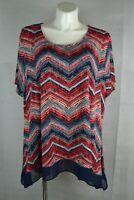 Cato Women's Blouse Size 26/28W Short Sleeve Scoop Neck (#44)