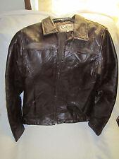 Women's Cellini Patch Stitch Leather Jacket  Brown **Vintage **Large